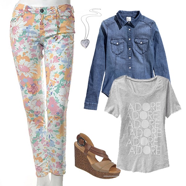 spring outfit with floral pants