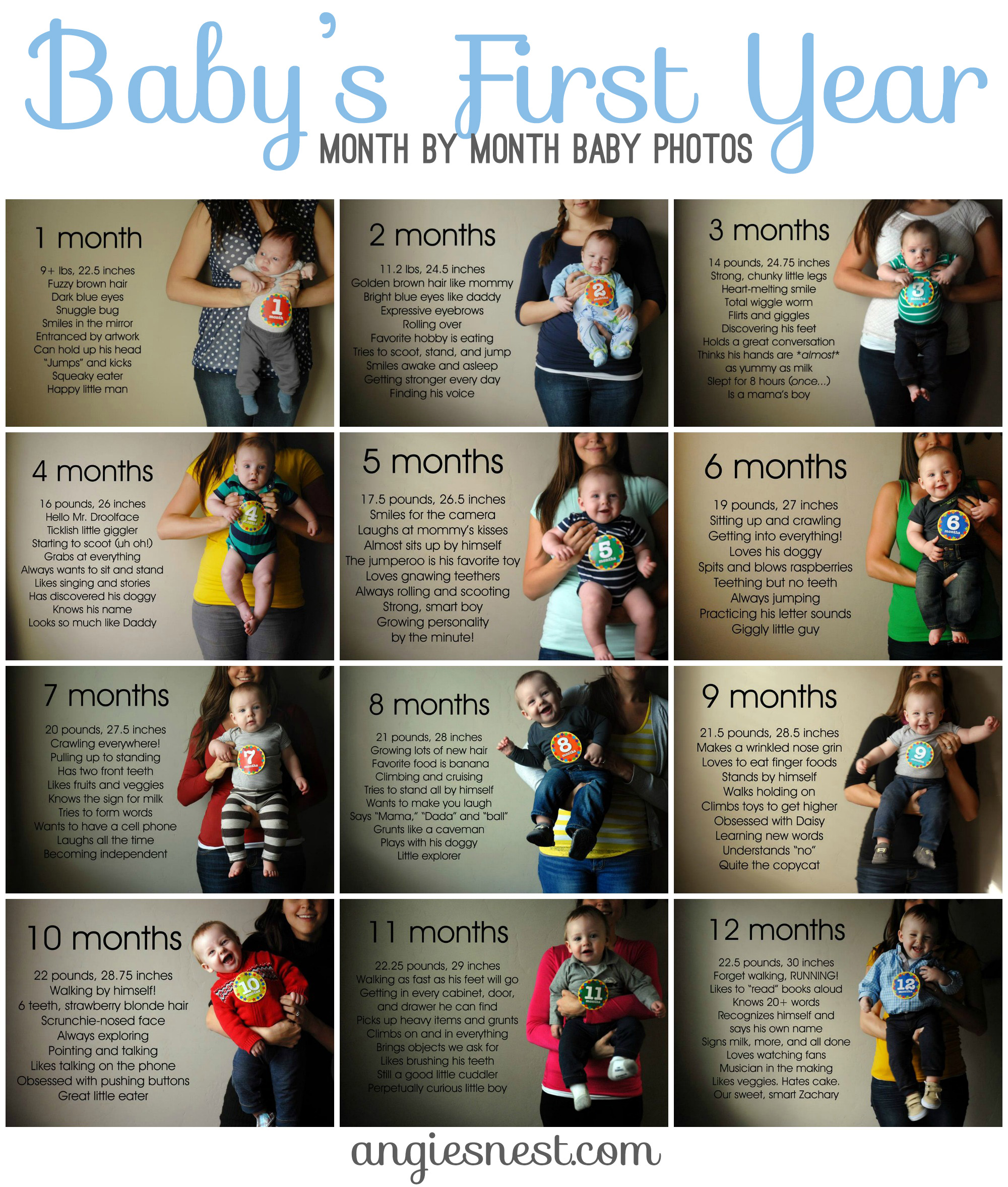 baby s first year month by month photos angie s nest